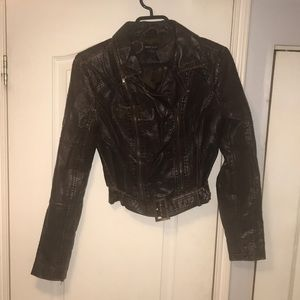 Wet Seal Women's Brown Faux Leather Jacket Size M